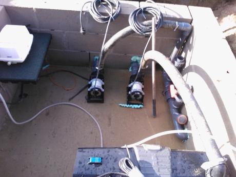 De technische ruimte van de zwemvijver.